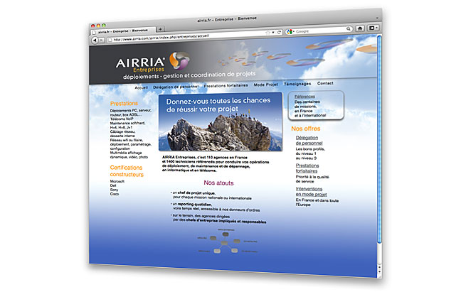 AIRRIA - conception et design du site internet - Airria Entreprises