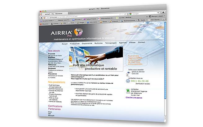AIRRIA - conception et design du site internet - Airria Pro